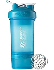 BlenderBottle ProStak Shaker (Fassungsvermögen 650ml, skaliert bis 450ml, mit 2 Container 150ml & 100ml, 1 Pillenfach und BlenderBall) - aqua, 1er Pack (1 x 240 g)