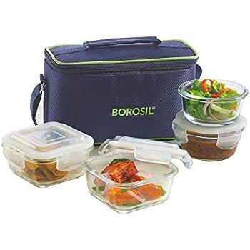 Borosil Glass Universal Lunch Box Set of 4, (2pcs 320 ml sq. + 2pcs 240 ml Round) Microwave Safe Office Tiffin
