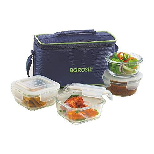 Borosil Glass Universal Lunch Box Set of 4, (2pcs 320 ml sqr + 2pcs 240 ml Rnd) Microwave Safe Office Tiffin