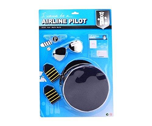 DEPICE T-DT-JH26917 - Pilot Set, Kinder Verkleidung Piloten Mütze Sonnenbrille Abzeichen -