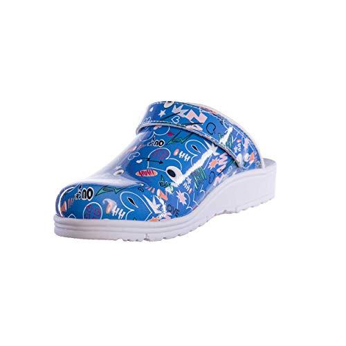 Sanita Footwear Slipper Clogs Hausschuhe, Farbe: Comic Blue, Größe: 38