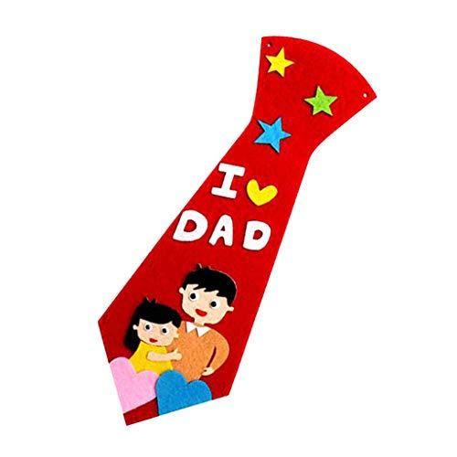 Fenteer 1 Set Handicraft DIY Krawatte Handwerk Material Kinder Handgemachte Krawatte für Papa Patch Spielzeug - rot - Patch-krawatte