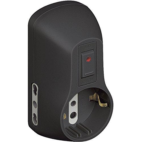 BTicino S3611GB Kit Adattatore Safe 1 Presa Standard Tedesca e 2 bipasso (10/16 A) con Interruttore di Sicurezza Luminoso Colore Grigio, Nero