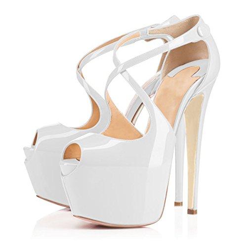 uBeauty Damen Pumps Stilettos High Heels Peep Toe Glitzer Übergröße Sandalen mit Plateau Corss Ankle Strap Schuhe Weiß Lackleder