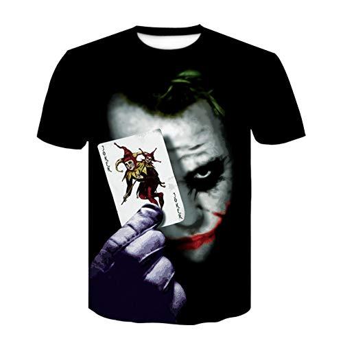 XJWDTX Clown Sommer Dünnschliff 3D-Druck Männer und Frauen Mode lässig Kurzarm-T-Shirt