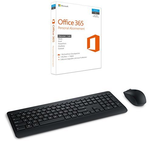 Microsoft Office 365 Personal - 1 PC/MAC - 1 Jahresabonnement + MS Wireless Desktop 900 with AES USB DE
