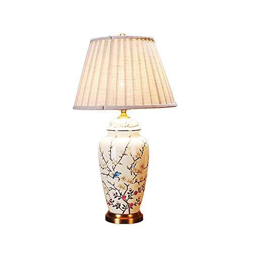 ANDEa Céramique Lampe de Table, Blanc Rétro Lampe de Table Salon Chambre Restaurant Lampe de Table Lampe de Chevet Bouton Interrupteur E27 * 1 Taille 35-39 * 57-66 CM Originalité (taille : 39 * 66CM)