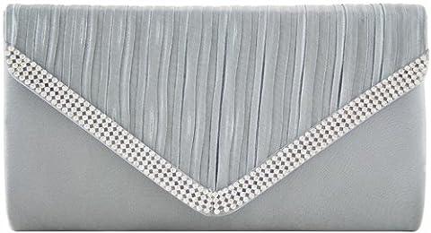 H&G Ladies Designer Satin Effect Pleated Flap Fashion Clutch \ Evening Handbag with Diamantes