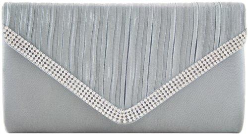 H&G Ladies Designer Satin effetto plissettato SILVYE POCHETTE di moda  borsette da sera con strass Grey