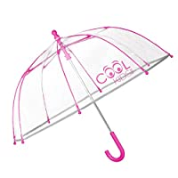PERLETTI Transparent Kids Umbrella - Reflective Bubble Stick Umbrella for Boys & Girls - Windproof and Resistant Dome Brolly - Safety Opening - 3 to 6 Years - Neon Colour -Diameter 64 cm Cool Kids