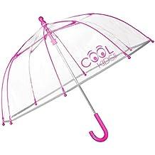 Paraguas Transparente Niño y Niña - Paraguas de Burbuja Resistente, Antiviento y Largo - Con