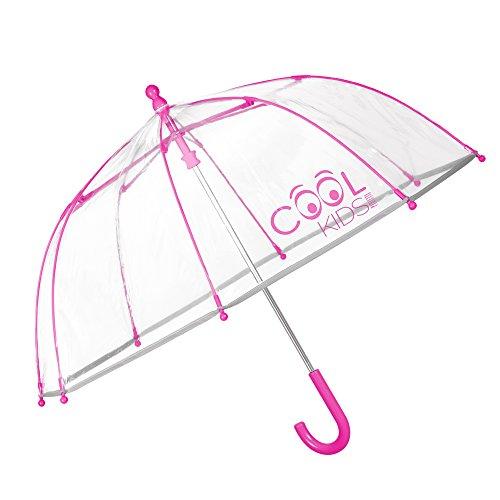 Kinder Schirm Mädchen & Jungen - Stockschirm mit Reflektierenden Details - Robuster und Windfester Regenschirm - Transparente Kuppel - 3 bis 6 Jahre - Durchmesser 64 cm - Perletti Cool Kids - Pink