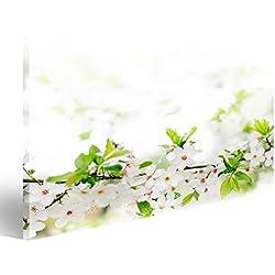 Cuadro Cuadros flores blancas de primavera en una rama de árbol sobre gris soleada bokeh de cerca Impresión sobre lienzo - Formato Grande - Cuadros modernos