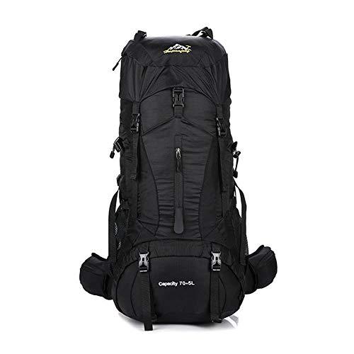 THWJSH Professionelle Bergsteigertasche für Herren und Damen 70 + 5L mit großem Fassungsvermögen-black