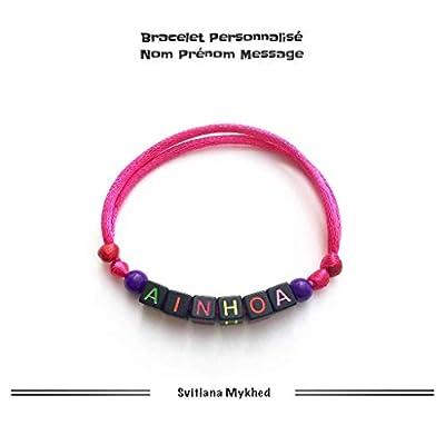 Bracelet personnalisable AINHOA avec prénom, message, logo, surnom (réversible) pour homme, femme, enfant, bebe, nouveau-né. Création sur mesure!