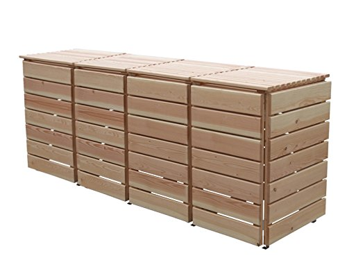 Mülltonnenbox Holz, Modell Bilmer, für vier 240 Liter Mülltonnen