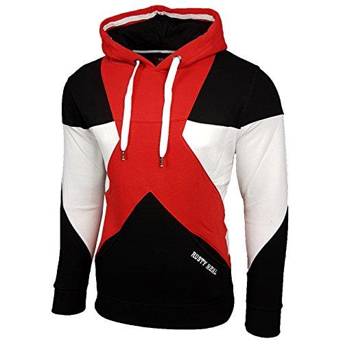 Herren Kapuzenpullover Langarm Sweatshirt Pullover Hoodie Sweatjacke Jacke 19042 Rot