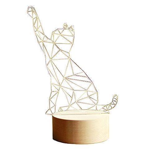 Pumpink Lucky Cat 3D résine réglable modélisme animé Lampe de table Lampe de table Créative Noël Saint-Valentin Cadeau d'anniversaire Lampe de bureau Lampe de bureau Nordic Solid Wood Kittens Night Light ( Color : Dimming switch-S )
