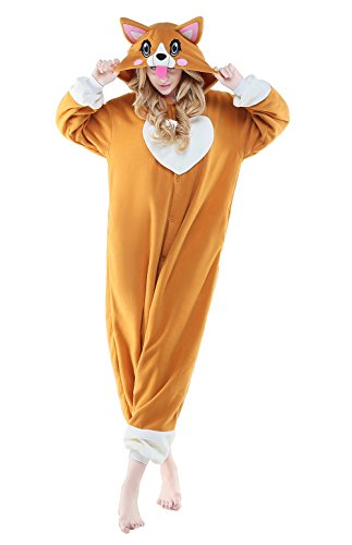 Canasour Polar Fleece Brown Sloth Women's Unisex Pajamas (L, Corgi Dog)