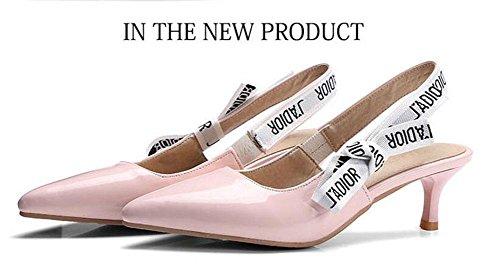 SHINIK Damen Spitz Zehen Pumpe Lackleder Schuhe Bequeme Shallow Slingback Sandalen 32-44 Pink