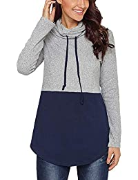 12fdaea64a20a1 Closhion Women s Long Sleeve Casual Lightweight Sweatshirts Tunic Shirt  Cowl Neck Jumper Top