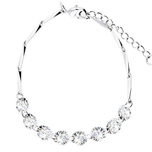 Mya da donna braccialetto bracciale braccialetto catena in acciaio inox, oro bianco placcato oro con zirconi strass a forma di diamante argento myawg arm di 2