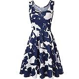 Feitong Damen T-Shirt Frauen ärmellos Drucken Sommer Strand Eine Linie Casual Dress Florales Kleid(EU-36/CN-S, Blau)