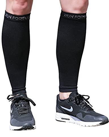 Calf Compression Sleeve - Leg Compression Socks for Shin Splint, & Calf Pain Relief - Men, Women, and Runners - Calf Guard for Running, Cycling, Maternity, Travel, Nurses (Black,