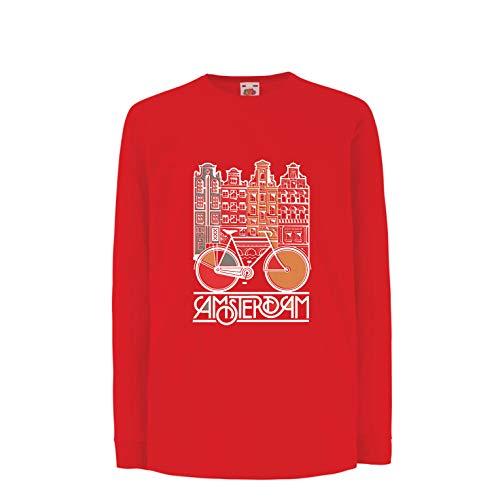 (lepni.me Kinder-T-Shirt mit Langen Ärmeln Weinlesefahrrad Amsterdam-Stadt, Netherland-Urlaubsreise (7-8 Years Rot Mehrfarben))