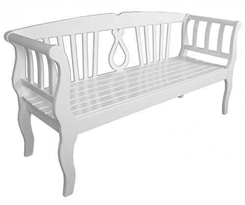 Elegante Gartenbank 3-Sitzer, Eukalyptus FSC-Holz weiß lackiert