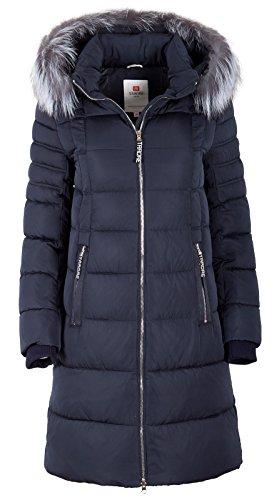 """7M56 Damen Winterjacke """"TARORE"""" mit Echtfellkapuze (38, blau)"""