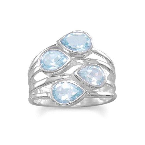 Sterling Silber Multi Row Ring Vier Birne Blau Topas Steine Steinen 5,5mm x 8mm, Größe P 1/2
