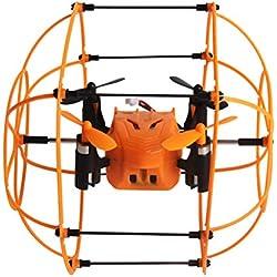 Mallalah Quadricoptère Télécommandé Hélicoptère RC Mini Drone Balle Sky Walker 2,4GHz 4CH 3D Tête Flip Jouet avec Cadre de Protection