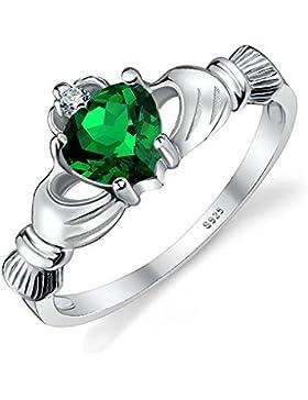 JewelryPalace Herz Claddagh Natürliche Aquamarin Amethyst Topas Erstellt Opal Zirkonia Nano Russian Simuliert...