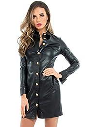 86edbd924e8b Forever Unique Women's Sidney Military Style Leatherette Shirt Dress - Black