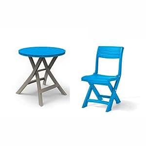 Allibert table pliante bleu/taupe 2 oregon chaise pliante de balcon tacoma bleu clair