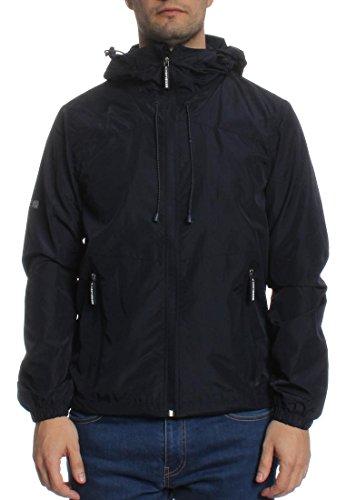 Superdry Homme Nouveau double Zip Jacket Cagoule, Bleu Bleu