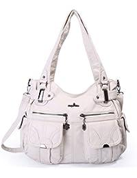 5760f36f9e247 Angelkiss Damen Handtasche Große Doppelreißverschluss Multi Pocket Washed  Schultertasche Designer…