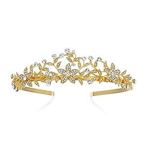 SWEETV Retro Stil Gold Krone Strass Diadem Braut Tiara Blatt Kopfschmuck für Hochzeit Festzug