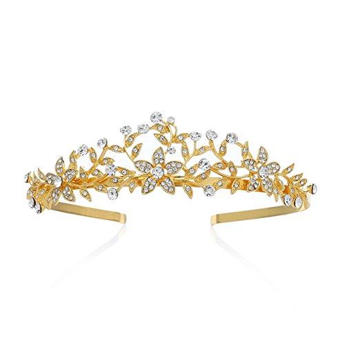 SWEETV Retro Stil Gold Krone Strass Diadem Braut Tiara Blatt Kopfschmuck für Hochzeit Festzug, Gold