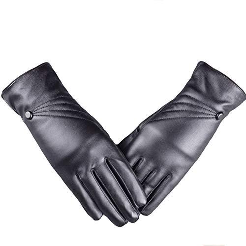 Whiie891203 Winterhandschuhe, modisch, für Damen, einfarbig, Kunstleder, Vollfinger-Handschuhe, Schwarz, Schwarz