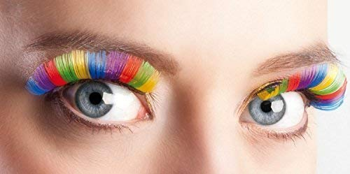 Fancy Me Damen Rainbow Pride Künstliche Wimpern Burleske Drag Halloween Kostüm Kleid Outfit Zubehör Wimpern