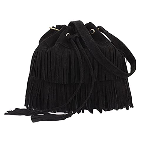 dragonaur Fashion Women Faux Leather Tassels Drawstring Closure Handbag Shoulder Bag size Medium