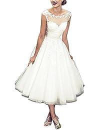 XUYUDITA Simple t¨¦ de longitud cuello escote cuello Appliques vestidos de novia Tulle vestido nupcial