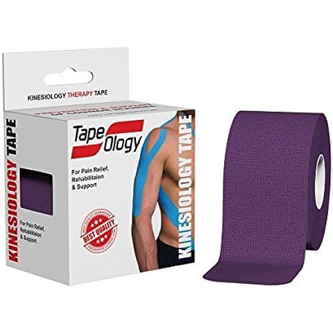 tapeology Premium Nastro kinesiologico per ginocchio, Spalla, gomito, Gravidanza e fascite plantare, Lattice e impermeabile. Progettato per lesioni e supporto. Impermeabile sweatproof Uncut, Purple
