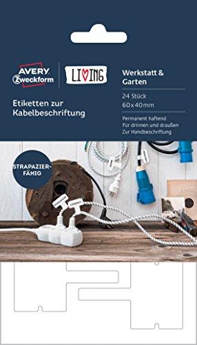 Avery Zweckform 62027 Living - Etiquetas para cables (aptas para escritura, 60 x 40 mm), color blanco