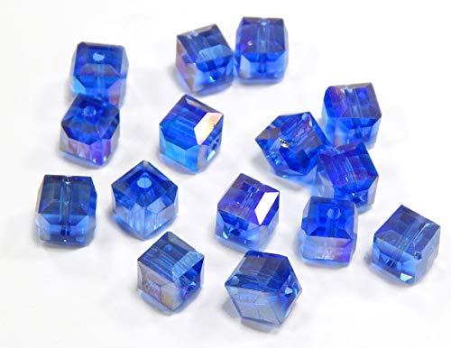 Kristall Perlen Glasperlen Sapphire Blau AB - 6mm Würfel Schmuckperlen Tschechische CZ Kristallschliffperlen Glasschliffperlen X222