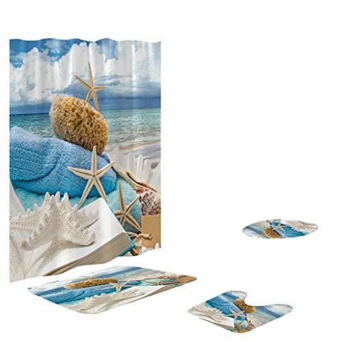 XZDCDJ WC-Sitz High-Gloss Badezimmerteppich Set 4 STÜCKE rutschfeste Wc Polyester Abdeckmatte Set Badezimmer Duschvorhang 75 -