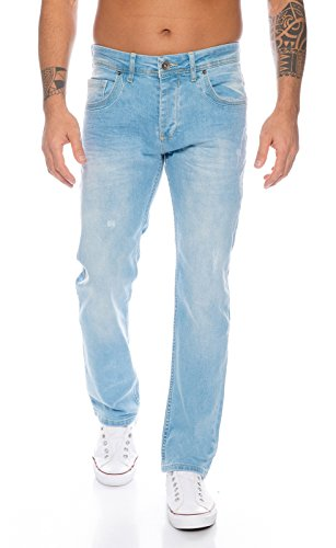 Rock Creek Herren Jeans Hellblau RC-331 [W44 L32] (Rock Denim, Leder)