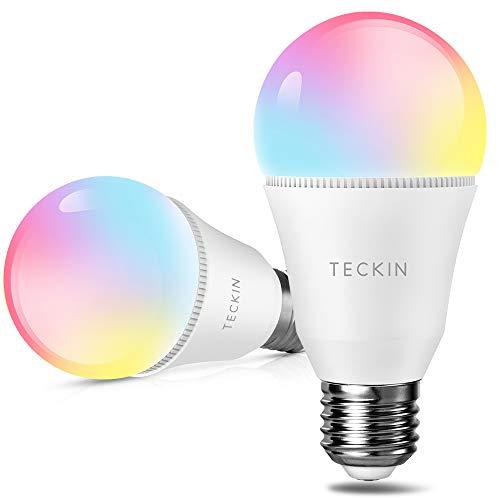 Lampadine Alexa WiFi Smart LED E27 , TECKIN Attivabile con Amazon Alexa e Google Home, Multicolor Dimmerabile 7.5W 800LM, Lampadina con timing Luce Calda e Fredda RGBW, 2 Pezzi